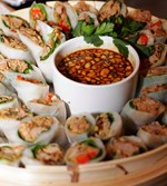BBQ Hoi-sin Duck Rice Paper Rolls with baby spinach, peanuts and zesty Asian dipping sauce