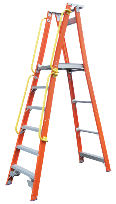Pro Series Fibreglass Platform Ladder Side Handrails