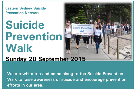 Eastern Sydney Annual Suicide Prevention Awareness Walk this Sunday