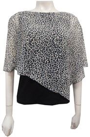 BLACK/WHITE ANIMAL - Print chiffon 2 in 1 top