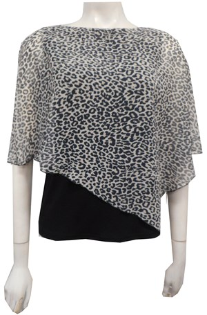 LIMITED BLACK/WHITE ANIMAL - Print chiffon 2 in 1 top