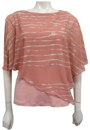 PRINT 180 - Print chiffon 2 in 1 top with attached soft knit singlet