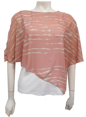 PRINT 180/WHITE - Print chiffon 2 in 1 top