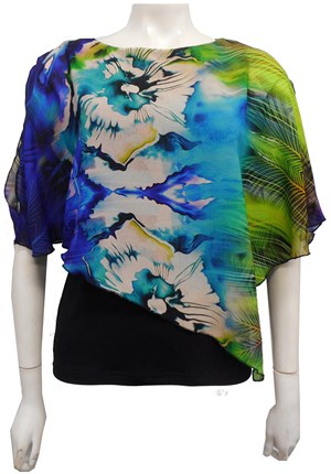 LIMITED STOCK - PRINT 186 - Print chiffon 2 in 1 top with attached soft knit singlet