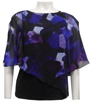 LIMITED STOCK - CHIFFON PRINT 193 - Print chiffon 2 in 1 top with attached soft knit singlet