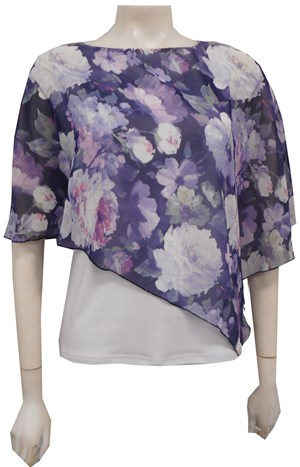 PRINT 216/WHITE - Print chiffon 2 in 1 top with attached soft knit singlet