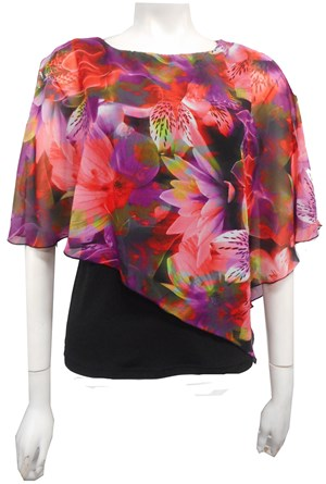 LIMITED STOCK - CHIFFON PRINT 237 - Print chiffon 2 in 1 top with attached soft knit singlet