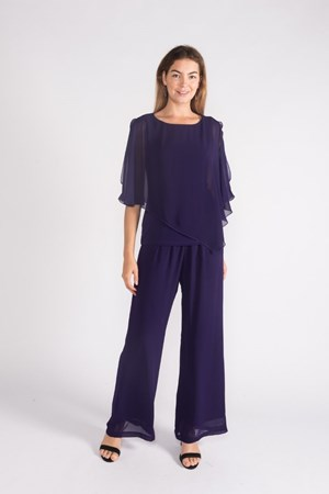 Purple- Plain chiffon 2 in 1 top