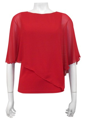RED - Plain chiffon 2 in 1 top