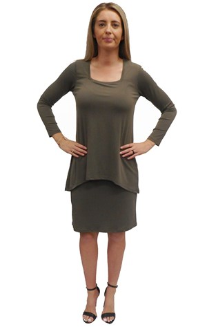 KHAKI - Rita dress with over top