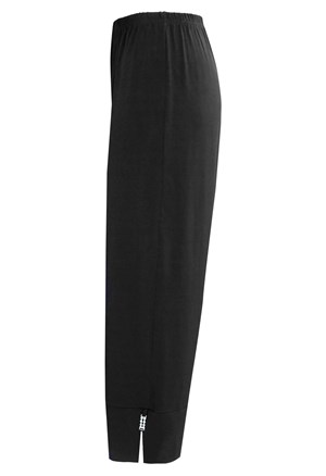 Sophia soft knit pull on pant wide cuff with split and diamonte trim