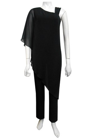 BLACK - Hannah jumpsuit with chiffon overlay