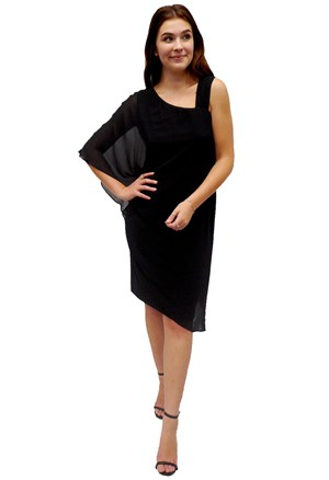 BLACK - Courteney one shoulder plain chiffon overlay dress