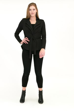 BLACK - Jenny double collar jacket with waist tie