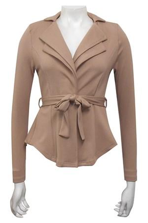BEIGE - Jenny double collar jacket with waist tie