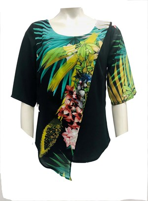 Claudia Palm Chiffon Overlay Top - Print 248