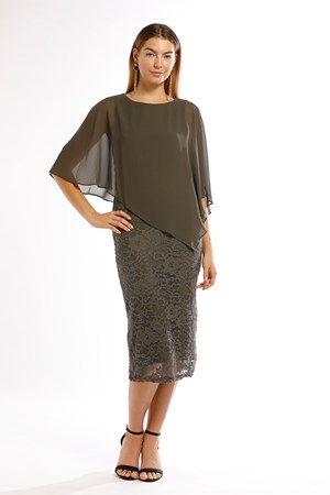 Karen Lace Dress With Chiffon Overlay - Khaki