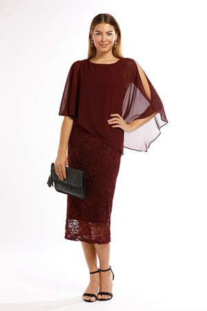 Karen Lace Dress With Chiffon Overlay- PORT