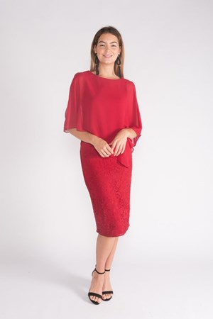 RED - Karen lace dress with chiffon overlay