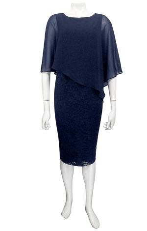 NAVY - Karen lace dress with chiffon overlay
