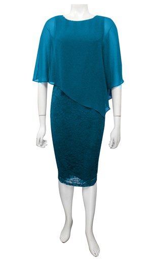 TEAL - Karen lace dress with chiffon overlay