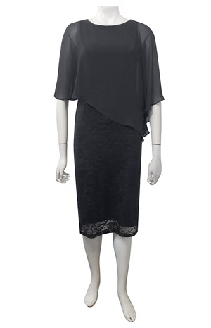 CHARCOAL - Karen lace dress with chiffon overlay