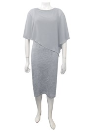 SILVER - Karen lace dress with chiffon overlay