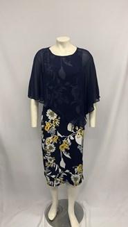 Chiffon Overlay Print Dress YELLOW NAVY