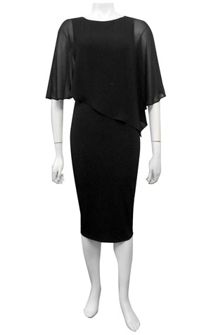 BLACK - Penny chiffon angle overlay soft knit dress.