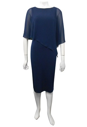 NAVY - Penny chiffon angle overlay soft knit dress.