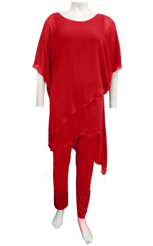 RED - Tilly chiffon overlay jumpsuit