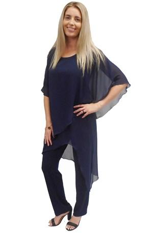 NAVY - Tilly chiffon overlay jumpsuit