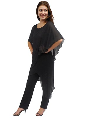 BLACK - Tilly chiffon overlay jumpsuit