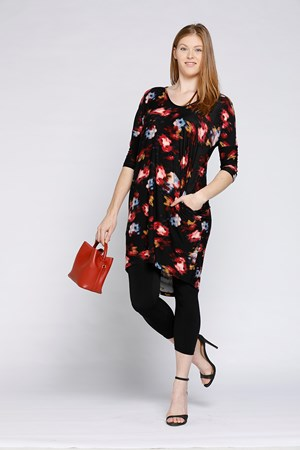High Low Tunic Red Print