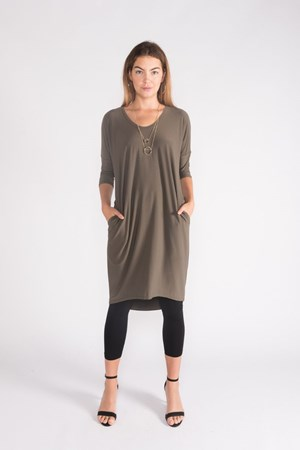 KHAKI - Lola plain 3/4 sleeve dress
