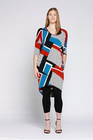 AZTEC PRINT - Lola 3/4 sleeve drape dress