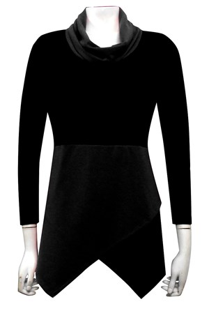 BLACK - Mary contrast angle woolly jumper