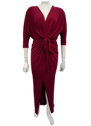 FUCHSIA - Victoria soft knit dress with front split