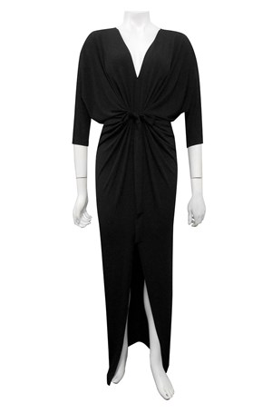 BLACK - Victoria soft knit dress with front split