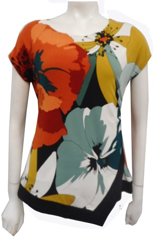 PRINT 624 - Hayley side ruched cap sleeve top
