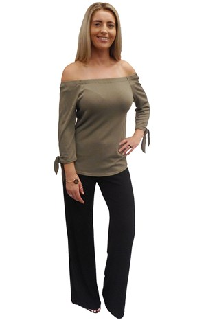 CLICK TO SEE COLOURS AVAILABLE - Laura elastic off the shoulder 3/4 sleeve top