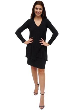 SOLD OUT COMING SOON - BLACK - Tiana soft knit overlay dress