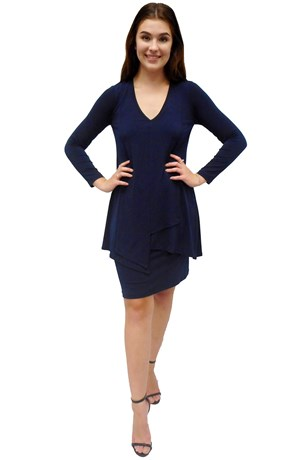 NAVY - Tiana soft knit overlay dress
