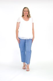 CLICK TO SEE COLOURS - Helen bengaline straight leg pant with side splits