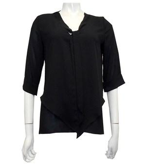 BLACK - Violet tie front blouse