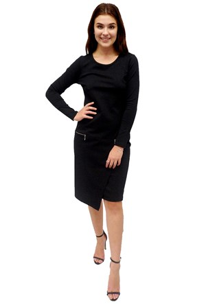 LIMITED STOCK - BLACK - Polly ponti tunic dress