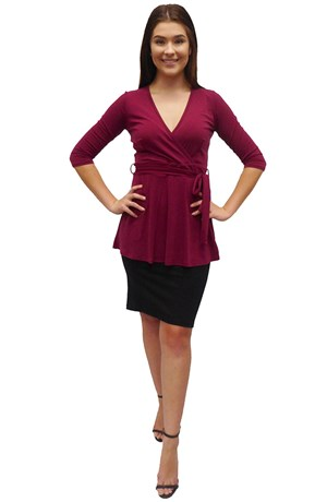 FUSCHIA - Sandy soft knit faux wrap top