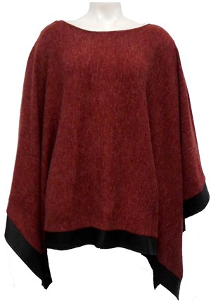 BURGUNDY - Winter poncho