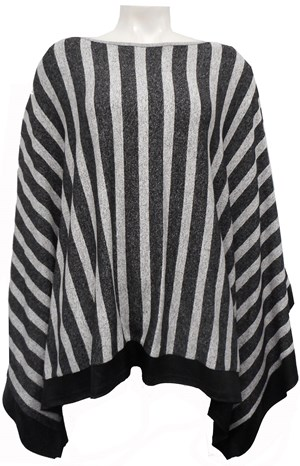 GREY STRIPE - Winter poncho