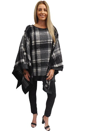 SOLD OUT - GREY/WHITE - Winter poncho